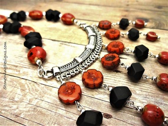 Black Onyx and Red Dahlia Big Necklace