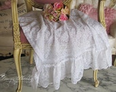 Pair Darling WHITE LACE Cafe CURTAINS, Roses, Shabby Chic, Cottage Kitchen