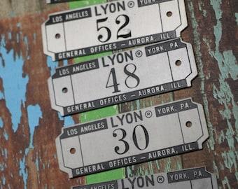 1 Vintage Lyon Industrial Number Locker Tag