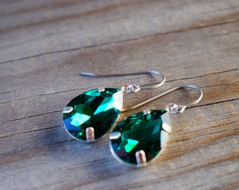 Emerald Crystal Earrings with Hypoallergenic Titanium Ear Wires