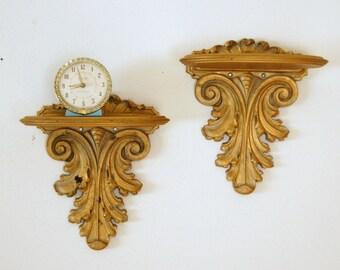 Syroco Wood Shelves, Vintage Wall Sconces, Wall Shelf Sconces, Gold Wall Decor, Hollywood Regency, Floating Shelves