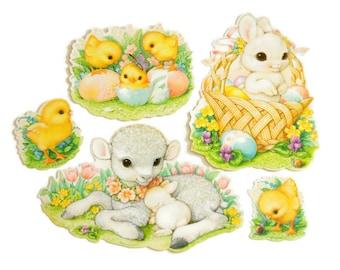 Easter Die Cuts, Vintage Hallmark Easter Decorations Set, 1980s Easter Ephemera