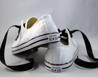 Lace Converses --Bridal Converses -- Wedding Tennis shoes  - Wedding Converse-- Custom Converses