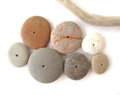 Stone Cairn Rock Donut Beads Mediterranean Beach Stone Stacks Pebble Rock Centre Drilled Beads River Stone Spacers SWEET WHEELS 15-25 mm