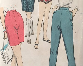Advance Pattern 8341, Skinny Pants, 1950's Short Shorts, Bermuda Shorts, Jamaica Shorts, Hot Pants, Waist 26