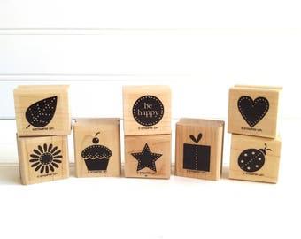 Stampin Up Stamps, Darling Dots, Retired Rubber Stamp Set, Star Ladybug Heart Flower Leaf Cupcake
