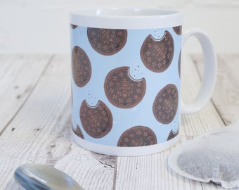 Biscuit mug - cookie mug - gift for biscuit lovers - oreo illustration