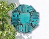 Abstract fish wall art, ceramic tile with fish design, decorative tile glazed in turquoise, stripy fish, Ceramic wall art with stripy fish