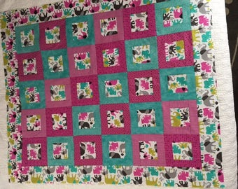 Elephant Walk Unfinished Baby Quilt Top
