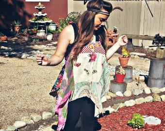 Boho top, festival tunic, gypsy tunic, boho chic top, gypsy floral top, boho fashion, festival top, hippie top, bohemian clothing, gypsy top