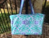 Sea Tile Ultimate Tote ~ Monogrammed Beach Bag ~ Monogrammed Tote Bag ~ FREE Drink Wrap