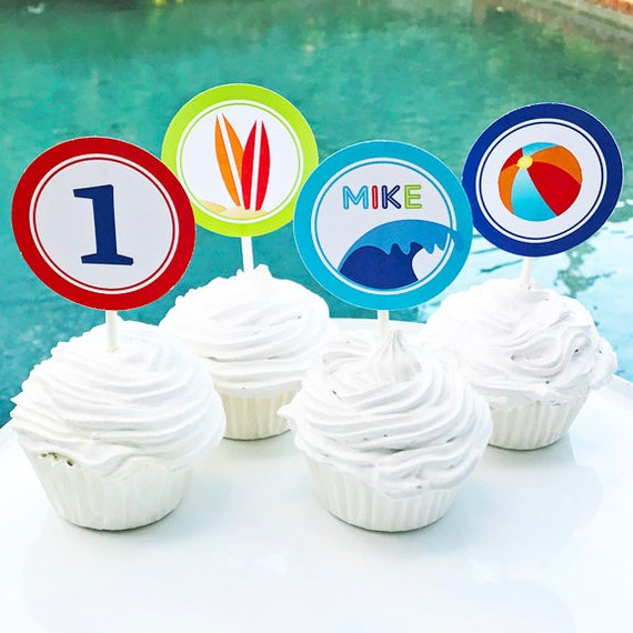 how to make surfboard cupcake toppers