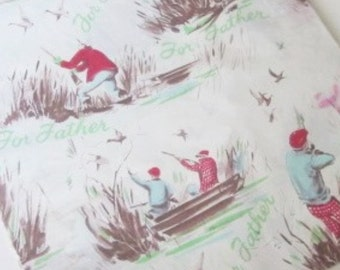 Vintage Wrapping Paper - Duck Hunters - Duck Hunting - Full sheet Gift Wrap - For Father