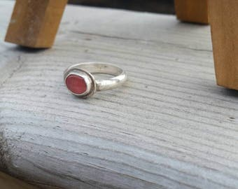 Pink Stacking Ring, Rhodochrosite Sterling Silver Stacker Ring, Handmade