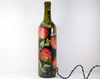 Wine Bottle Light with Hand Painted  Apples, Yellow Green Red Kitchen Decor, Hostess Gift, Painted Apples Kitchen Decor, Fruit Art