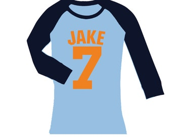 Personalized Baseball Tee birthday number jersey shirt - cropped/long sleeve fitted raglan shirt - any age and name - pick your colors!