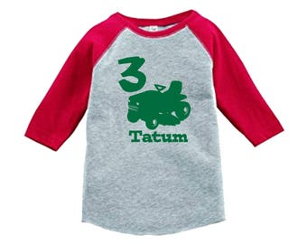 Riding Mower Birthday Shirt - 3/4 or long sleeve relaxed fit raglan baseball shirt - Any age and name - pick your colors!