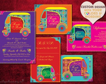 Indian Wedding Invitation Set Boho Auto RICKSHAW TUKTUK Design Save The Date Card Rustic Hindu Asian Thai Punjabi Sikh Indonesian African