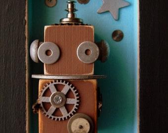 Robot Assemblage - Robot 456 - Robot Art - Wall Art by Jen Hardwick