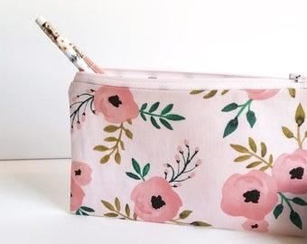 Zippered pouch, makeup bag, cosmetic bag, pencil case, purse organizer, zipper case, travel case, accessories bag, essentials zipper bag