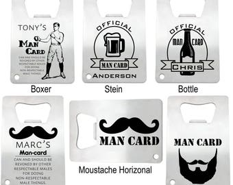 9 Personalized Stainless Steel Man Card Credit Card Bottle Opener - engraved bottle opener groomsman gift personalized bachelor party favor