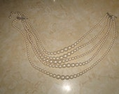 vintage necklace 5 strand faux pearls