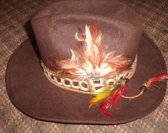vintage mens hat dorfman pacific studs brown western feathers