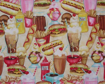 Diner Food Fabric, At the Diner, Diner Food, Diner Fabric, Food Fabric, Packed Food Shakes Hot Dogs, Cheeseburgers, By the Yard, Wilmington