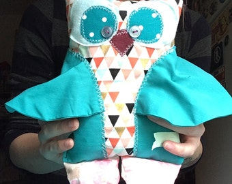 HOOT OWL Fabric Friend - A Delightful Mix of Vintage and New Materials