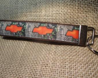 Chevy emblem Camo Ribbon on webbing, Key Fob or Key Chain