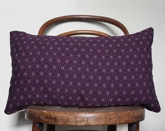 Purple Sashiko Decorative Pillow Covers. Vintage Kimono Cushion. Natural Pillow. Linen and Wool Cushion.