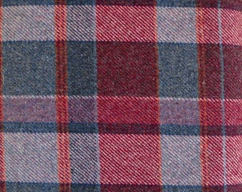 Red Gray Plaid Wool/Polyester Blend Fabric, 70 Percent Wool/30 Percent Polyester, Fabric by the Yard