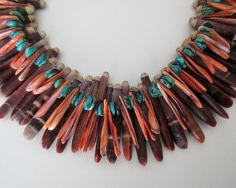 vintage choker style necklace - sea urchin, turquoise, red coral, 18inch