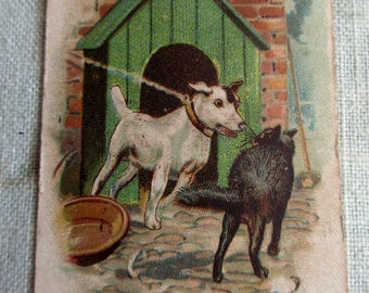 Antique Playing Card - Old Maid, children, game, So Near Yet So Far, dog, cat