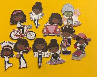 Pamper me Diva 20 (10 large/10 small) African American decorative planner stickers will fit most planners