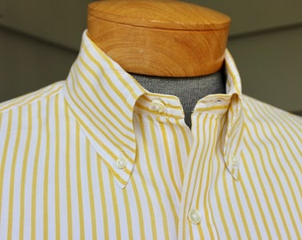 vintage 70's - 80's -Brooks Brothers- Men's long sleeve, button down collar shirt. Cotton Broadcloth - Yellow Riviera stripe. Large 16