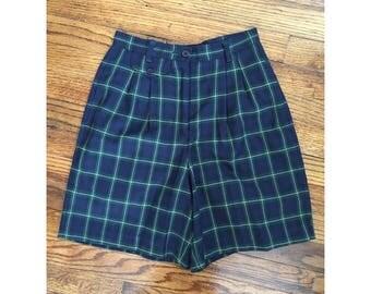 "90's Navy Plaid High Waisted Shorts, Women's 24"" Waist"
