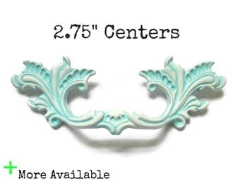 """CLEARANCE - White and Turquoise French Provincial Drawer Pulls 2.75"""" centers 2 3/4""""- Color Samples - More Available"""