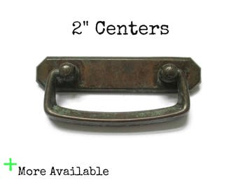 "Vintage rustic bin pulls 2"" centers industrial drawer handles - worn brass patina - More Available"