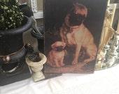 Reserved for Sharon Vintage Printed Canvas Pugs Puppy Dog Velvet Art