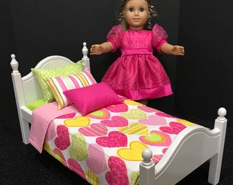 American Girl Doll:  Furniture, Bed with trundle, hearts bedding.