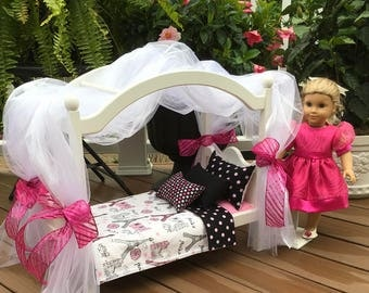 American Girl Doll: Furniture, canopy bed, Paris pink silver glitter bedding