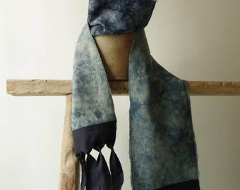 Prototype Sale. Asymmetry bohemian scarf Navy blue & Nuance of blue.
