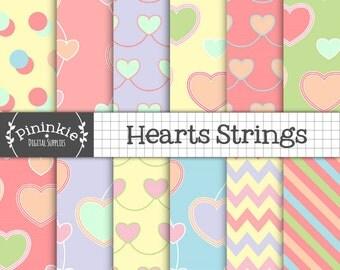 Valentines Day Digital Paper, Heart Digital Paper, Heart Scrapbook Paper, Heart Digital Background, Pink, Purple, Scrapbooking Paper Pack