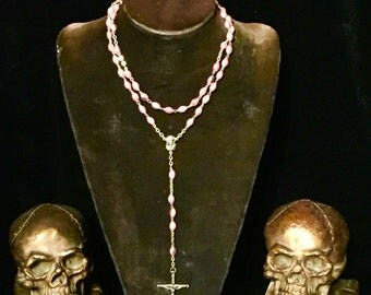 Vintage Pink Rosary Italian Iridescent Glass Luster Beads at Gothic Rose Antiques