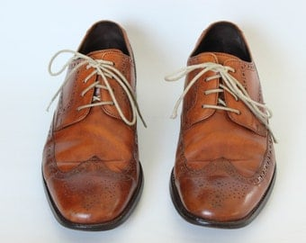 Vintage Cole Haan Brown Leather Oxford Dress Shoes Men's Size 9 1/2 Made in India