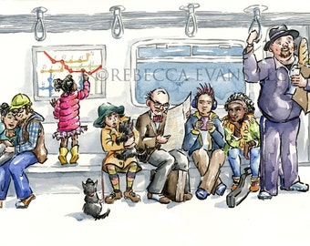 Illustration Art Print People on the Subway 13x19