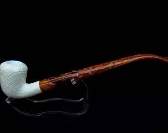 Leather Lattice Pear Churchwarden Turkey Block Meerschaum Pipe First Rare 7056