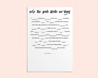 Bridal Mad Libs - Help the Bride Write Her Vows - Digital Download - 8.5x11""