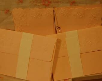 Vintage Hallmark Stationery Victorian Style Embossed Roses Stationery Embossed Envelopes & Plain Pink Stationery No Box
